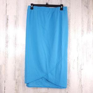 Slinky Luxe Crepe Tulip Pencil Skirt Blue 3X